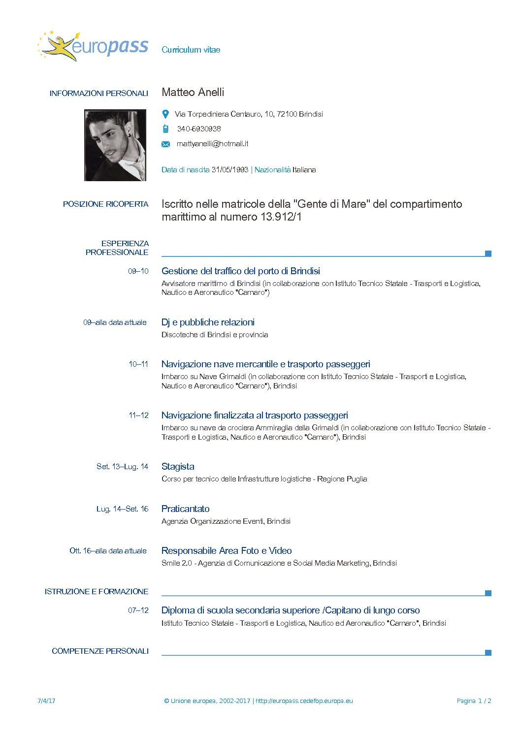 Curriculum Matteo Anelli – corretto